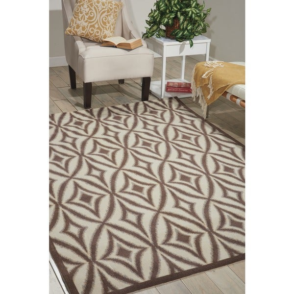 Waverly Sun N' Shade Centro Flint Indoor/ Outdoor Rug by Nourison (7'9 x 10'10) - 7'9 x 10'10