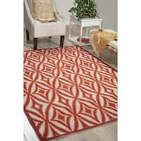 Waverly Sun N' Shade Centro Campari Indoor/ Outdoor rug by Nourison - 7'9 x 10'10