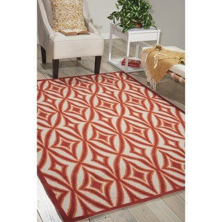 Waverly Sun N' Shade Centro Campari Indoor/ Outdoor rug by Nourison (7'9 x 10'10) - 7'9 x 10'10