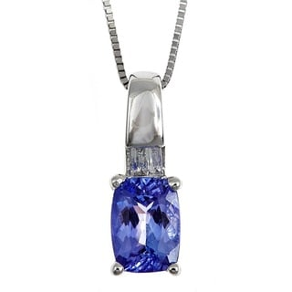 Anika and August Sterling Silver Cushion-cut Tanzanite and Diamond Accent Pendant Necklace