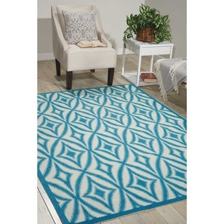 Waverly Sun N' Shade Centro Azure Indoor/ Outdoor Rug by Nourison (5'3 x 7'5)
