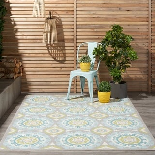 Waverly Sun N' Shade Solar Flair Jade Outdoor Area Rug by Nourison (5'3 x 7'5)