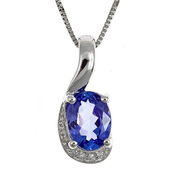 Anika and August Sterling Silver Tanzanite and Diamond Accent Necklace