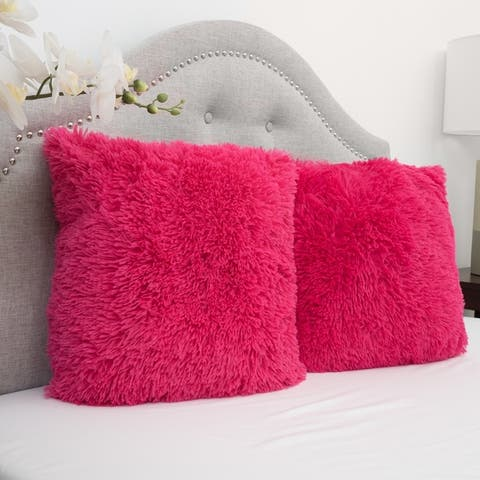 Faux Fur 18 Inch Decorative Throw Pillows (set of 2)