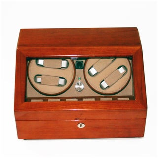 Rocketbox Four Winder Cherry Finish Watch Winder Box for 10 Watches
