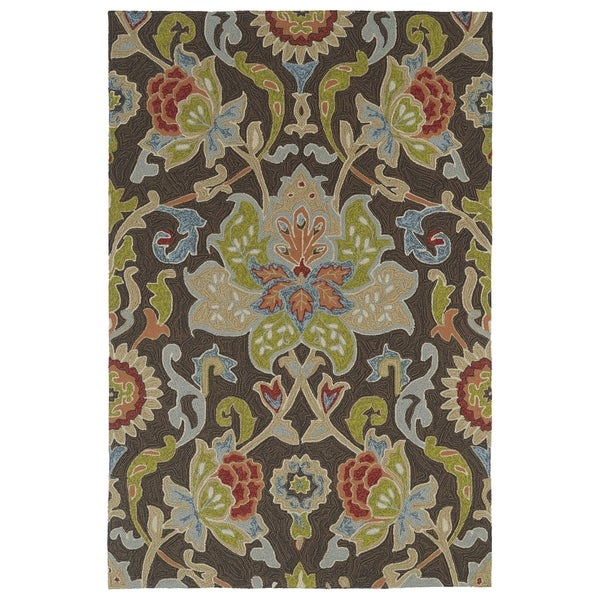 Indoor/ Outdoor Fiesta Brown Flower Rug