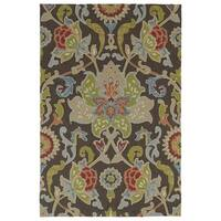 Indoor/ Outdoor Fiesta Brown Flower Rug (9' x 12')