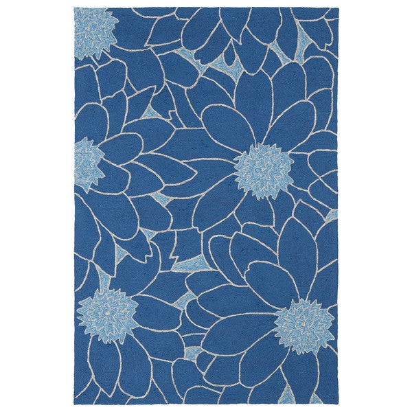 Indoor Outdoor Fiesta Blue Flower Rug 9 x 12 Free