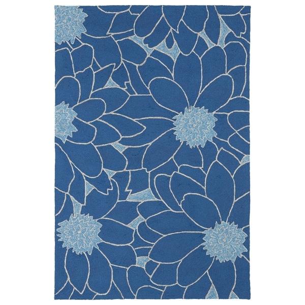 Indoor/ Outdoor Fiesta Blue Flower Rug - 9' x 12'
