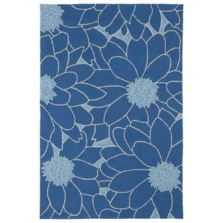 Indoor/ Outdoor Fiesta Blue Flower Rug (9' x 12') - 9' x 12'