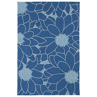 Indoor/ Outdoor Fiesta Blue Flower Rug (9' x 12')