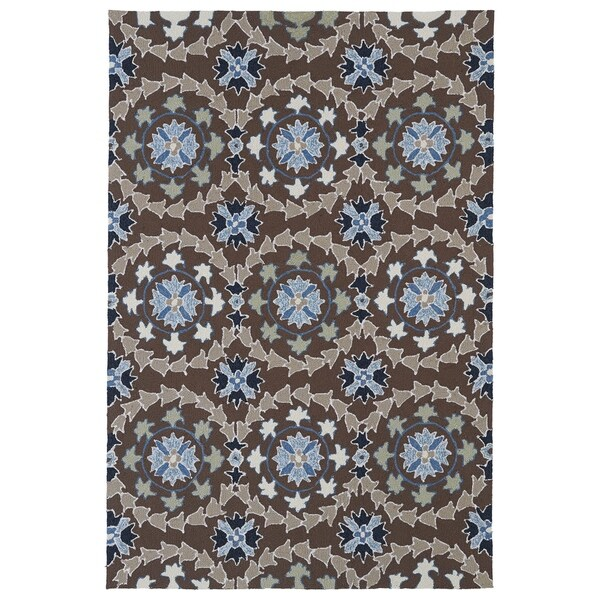 Indoor/ Outdoor Fiesta Brown Rug (7'6 x 9') - 7'6 x 9'