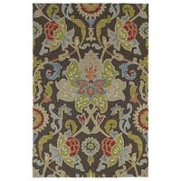 Indoor/ Outdoor Fiesta Brown Flower Rug (7'6 x 9')
