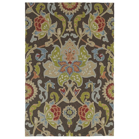 Indoor/ Outdoor Fiesta Brown Flower Rug - 5' x 7'6""
