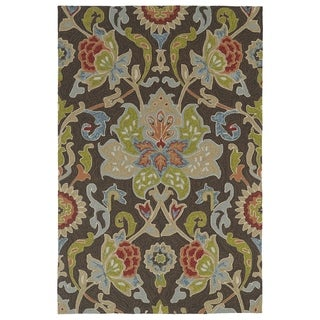 Indoor/ Outdoor Fiesta Brown Flower Rug (5' x 7'6)
