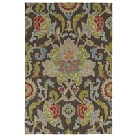 Indoor/ Outdoor Fiesta Brown Flower Rug - 5' x 7'6
