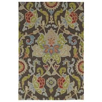 Indoor/ Outdoor Fiesta Brown Flower Rug - 3' x 5'