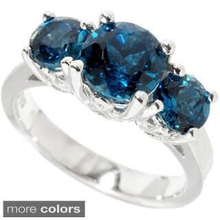 Sterling Silver Blue Topaz, Rhodolite Garnet Three-stone Ring
