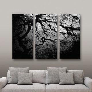 John Black 'Silver Twilight: Japanese Tree' 3-piece Gallery-wrapped Canvas Art Set