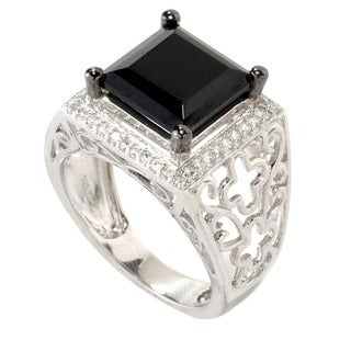 Sterling Silver Square-cut Black Spinel and Round-cut White Topaz Ring
