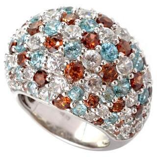Sterling Silver Natural Zircon Gemstone Statement Ring