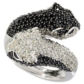 Sterling Silver Black Spinel and White Topaz Panther Ring