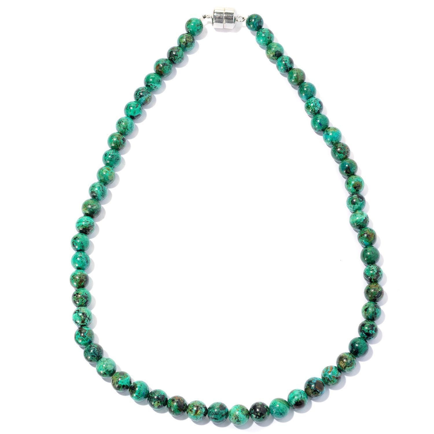 "Sterling Silver Chrysocolla Bead Necklace (36-inch) (18"" ..."