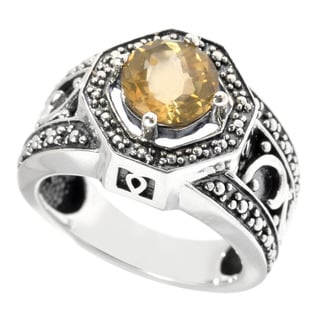 Oxidized Sterling Silver Round Citrine Ring