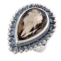Sterling Silver Smoky Quartz Drop Shape Ring