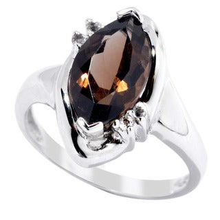 Sterling Silver Smoky Quartz And White Topaz Ring