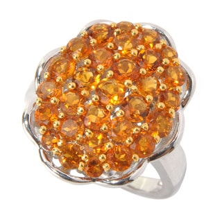 Sterling Silver Madeira Citrine Cluster Fashion Ring