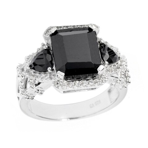 Sterling Silver White Topaz and Black Spinel Ring