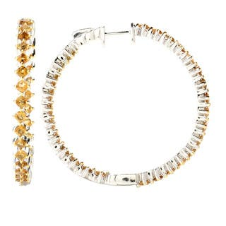 Sterling Silver Yellow Tourmaline Inside-out Hoop Earring|https://ak1.ostkcdn.com/images/products/8817336/Sterling-Silver-Smoky-Quartz-and-White-Topaz-Earrings-P16051314.jpg?impolicy=medium