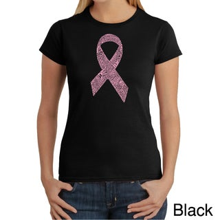 Los Angeles Pop Art Women's 'Cancer Ribbon Breast Names' T-shirt