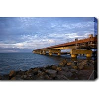 'The Harbour' Gallery-wrapped Photography Canvas Art - Blue/Brown