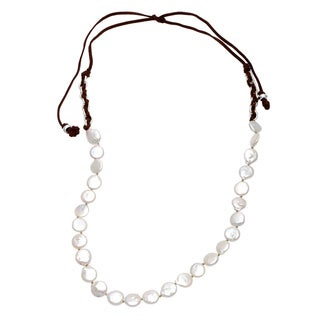 Sunstone Catherine Canino Freshwater Coin Pearl Necklace (14 mm)