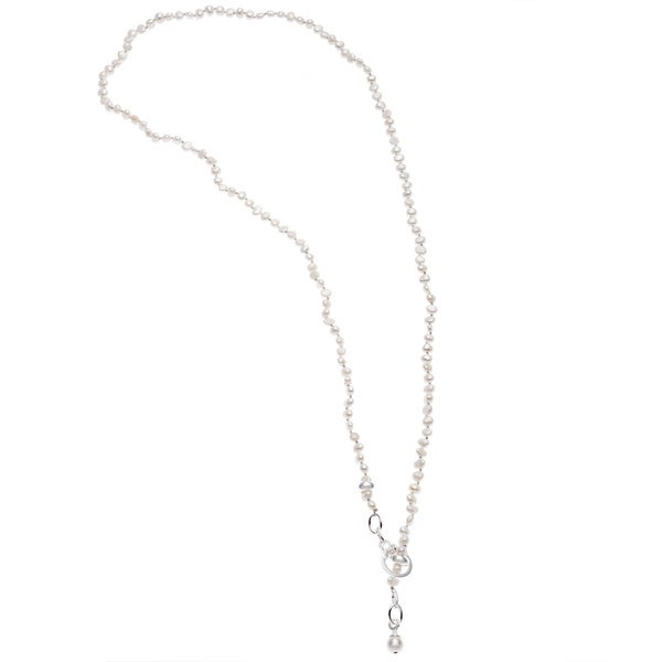 Sunstone Catherine Canino Sterling Silver Freshwater Pearl Link Y-necklace