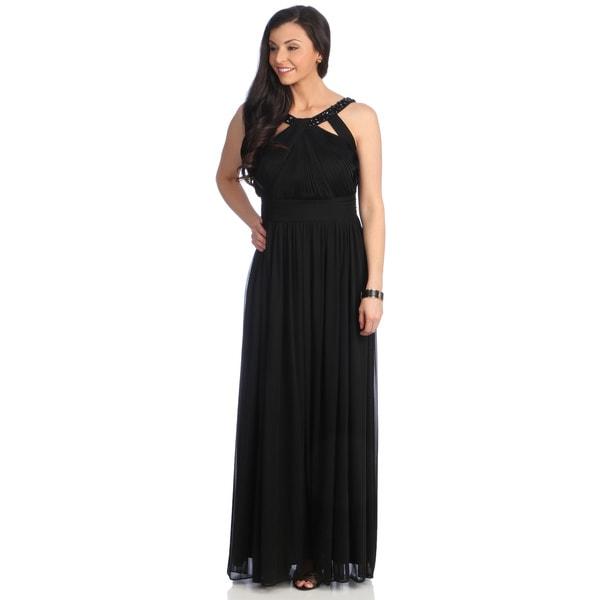 39e6d654bc0 Shop Alex Evenings Women s Black Beaded-neckline Evening Gown - Free ...