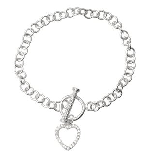Journee Collection Sterling Silver Cubic Zirconia Heart Bracelet