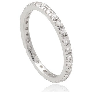 Journee Collection Sterling Silver Cubic Zirconia Eternity Band (2mm) (4 options available)