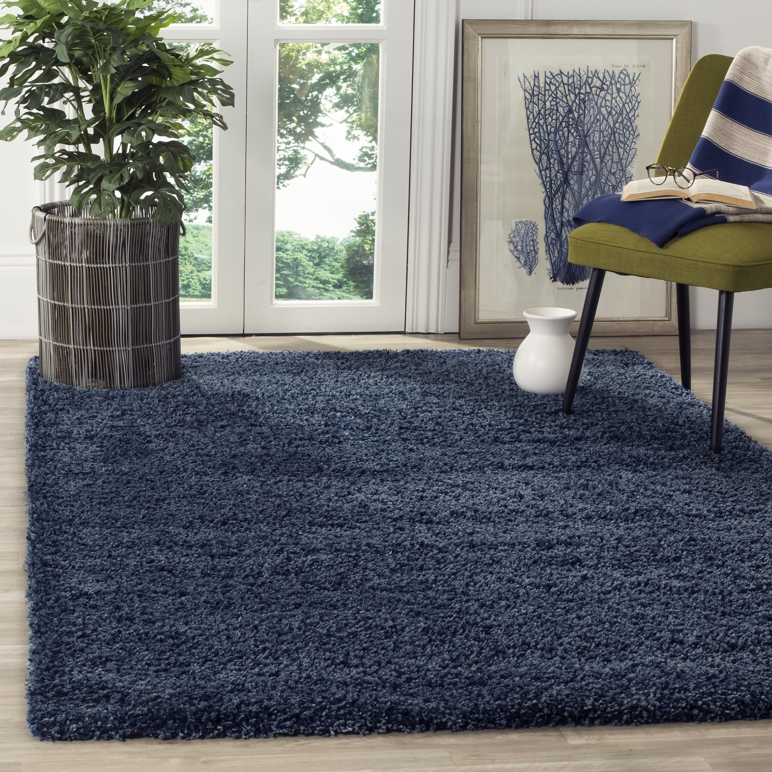 Shop Safavieh California Cozy Plush Navy Shag Rug 8 6 X