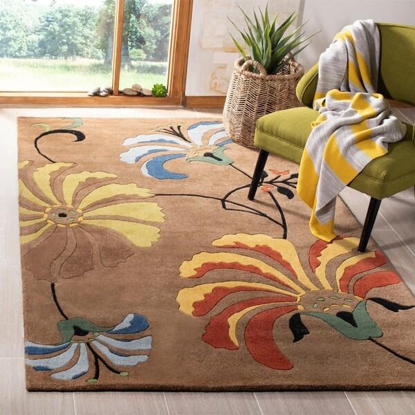 """Safavieh Handmade Soho Brown New Zealand Wool/ Viscose Rug - 9'-6"""" x 13'-6"""""""