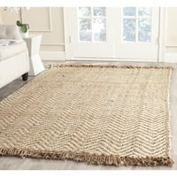 Safavieh Natural Fiber Hand-Woven Chevron Off-White/ Natural Brown Jute Rug - 6' Square
