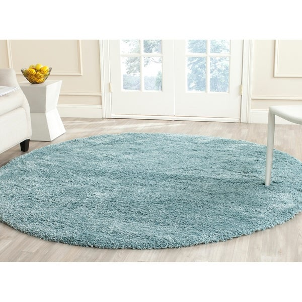 shop safavieh california cozy plush light blue shag rug 6 39 7 round on sale free shipping. Black Bedroom Furniture Sets. Home Design Ideas