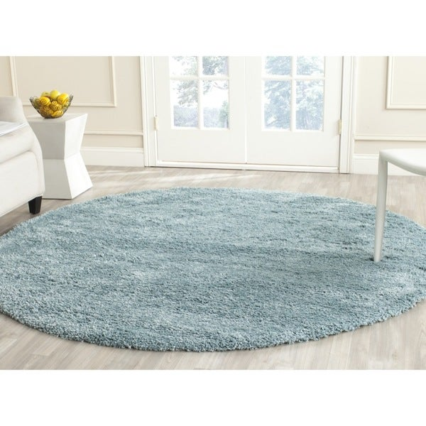 safavieh california cozy plush light blue shag rug 6 39 7 round free shipping today overstock. Black Bedroom Furniture Sets. Home Design Ideas