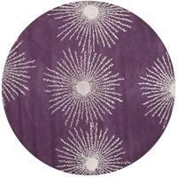 Safavieh Handmade Soho Purple/ Ivory New Zealand Wool/ Viscose Rug (8' Round)