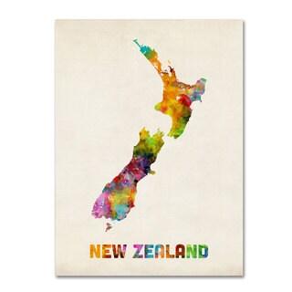 Michael Tompsett 'New Zealand Watercolor Map' Canvas Art