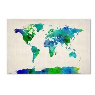 Michael Tompsett 'World Map Watercolor' Canvas Art