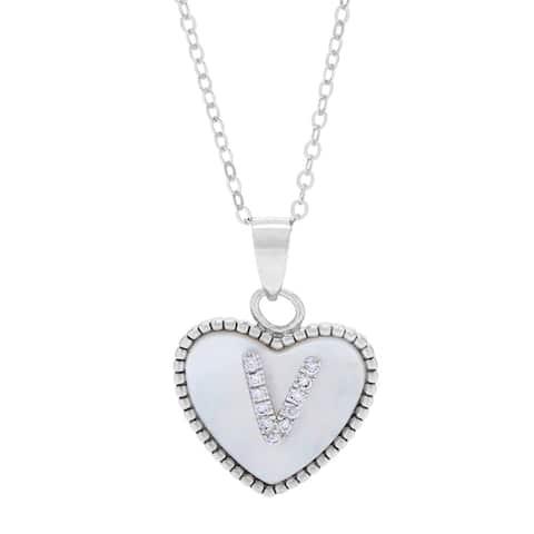 La Preciosa Sterling Silver Mother of Pearl and CZ Initial Heart Necklace