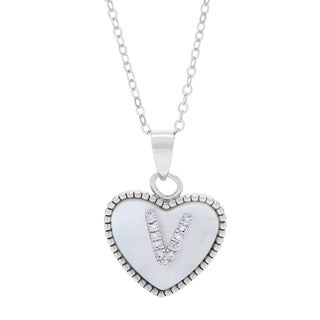 La Preciosa Sterling Silver Mother of Pearl and CZ Initial Heart Necklace